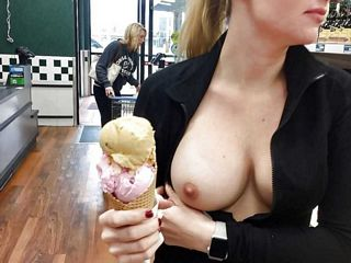 flashing one boob