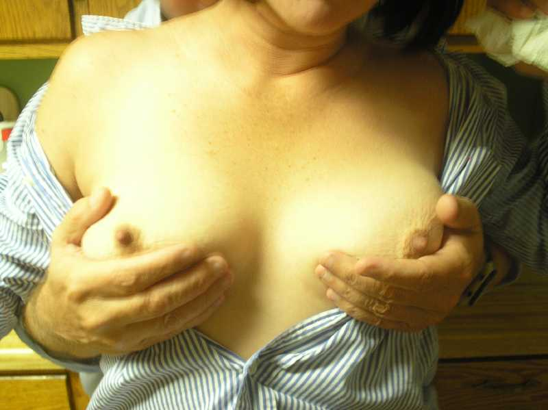 Touching my wifes naked boobs
