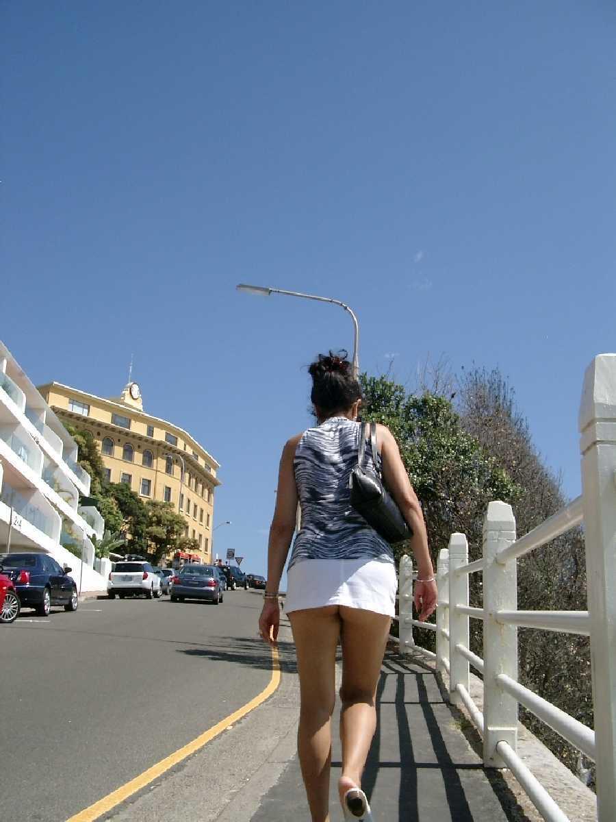Short Skirt Outside at Bondi Beach