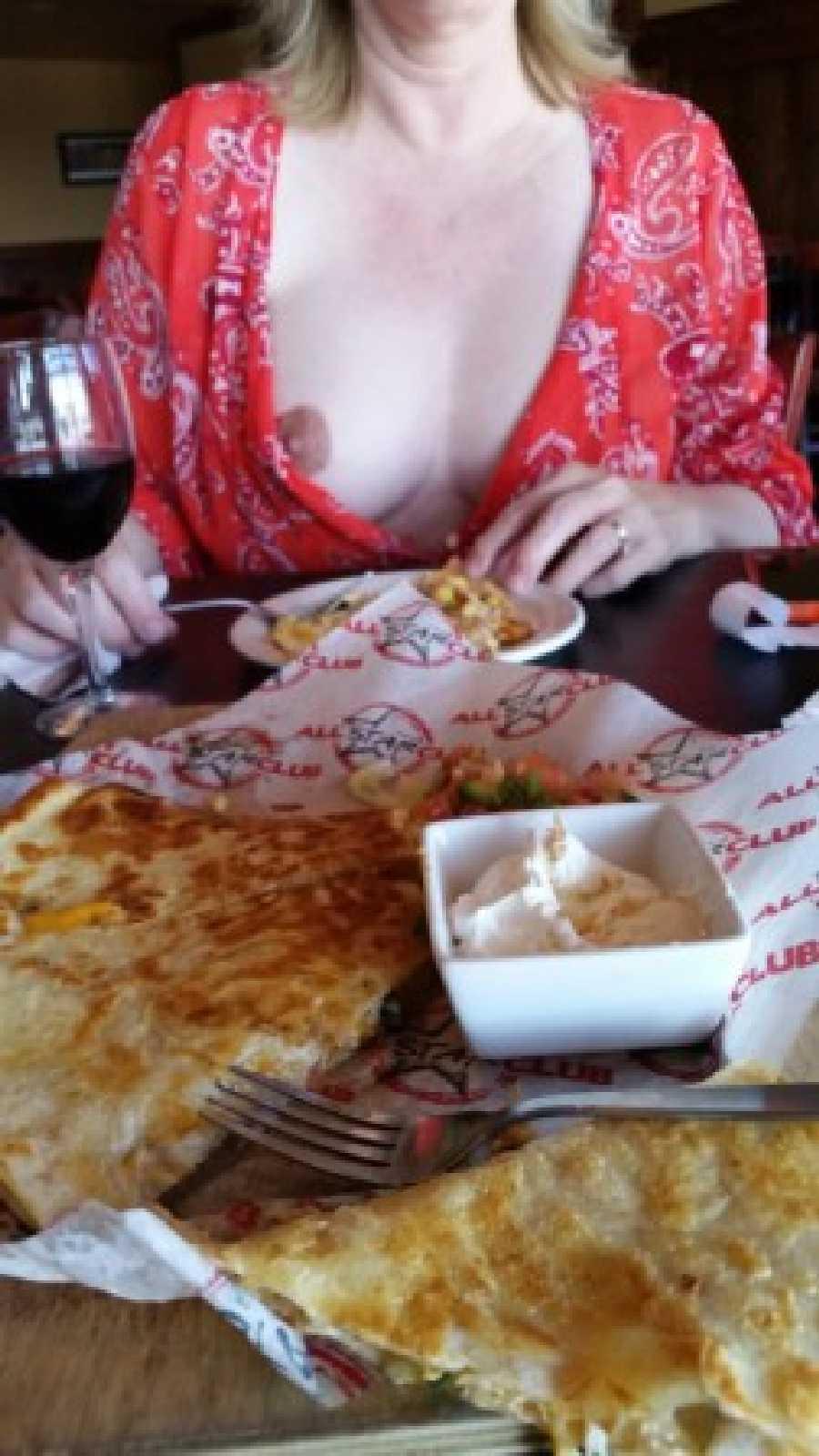 Nipple Exposed at Restaurant