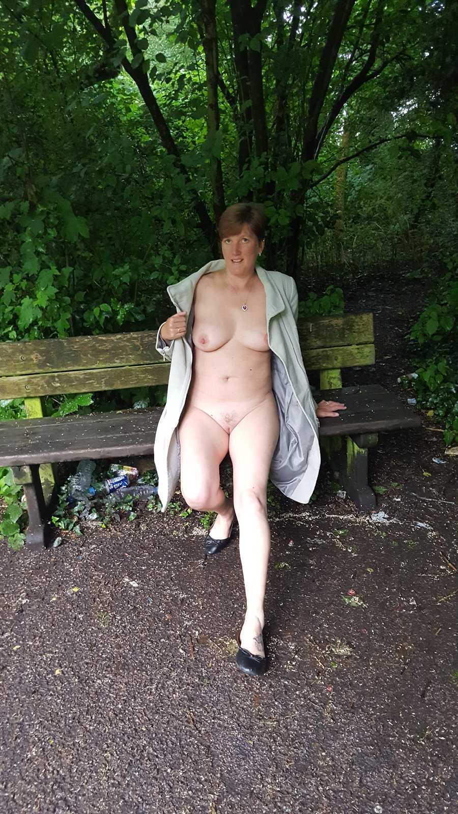 Wife naked under coat