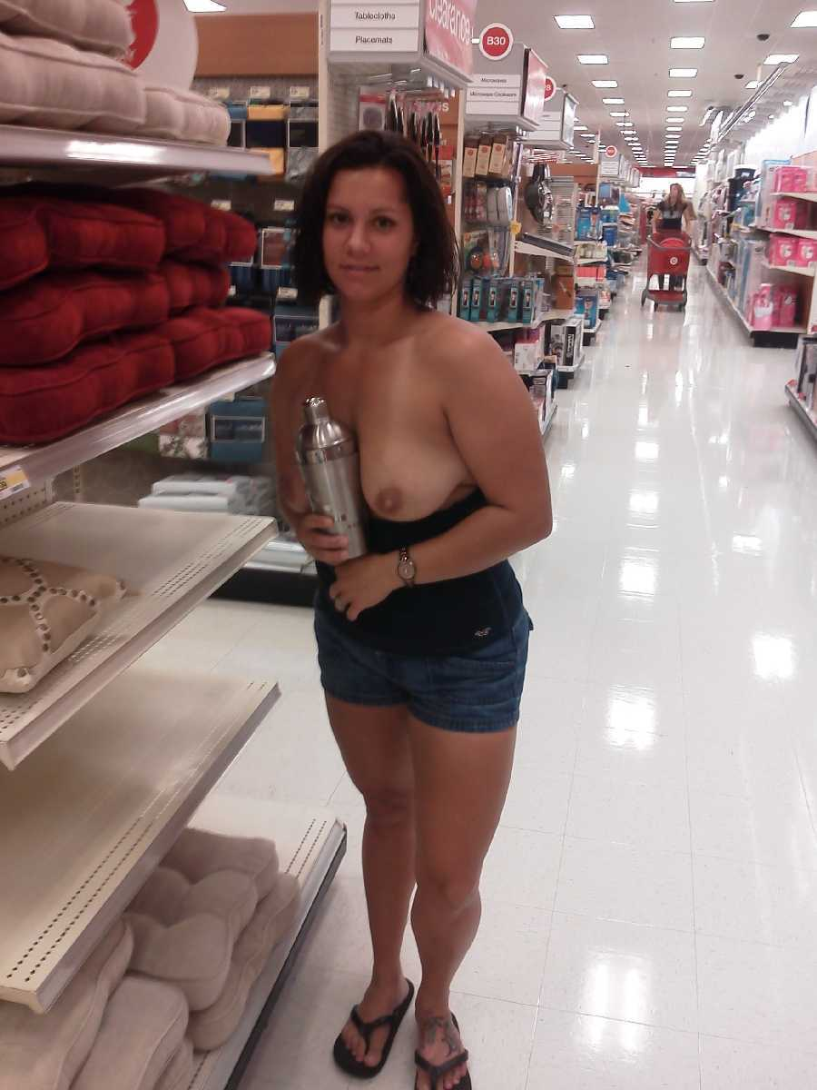 public flashing dare - flashing her tits in the store