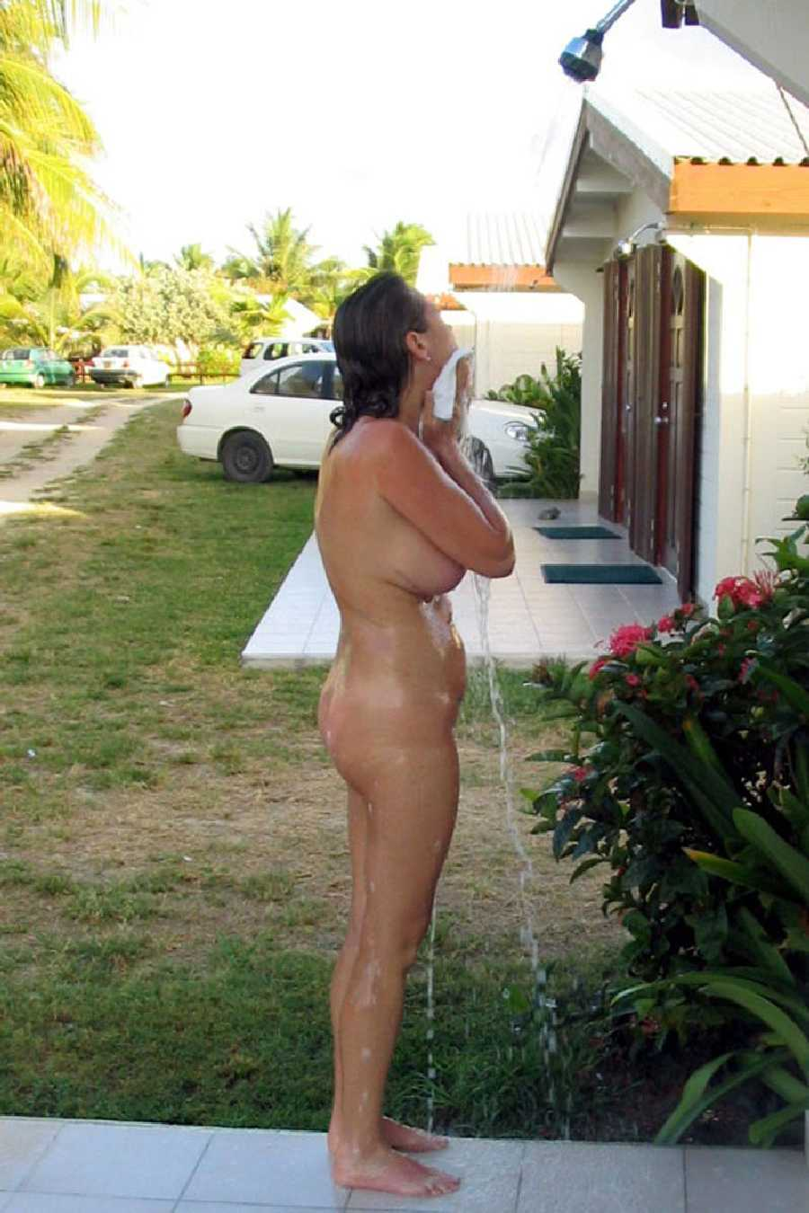 Wife Naked Outdoor Shower