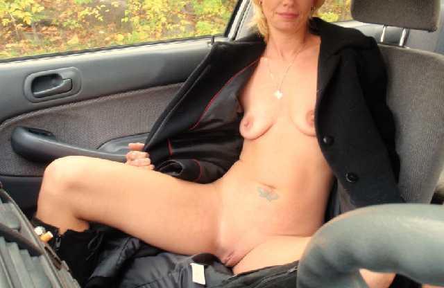 Milf driving naked