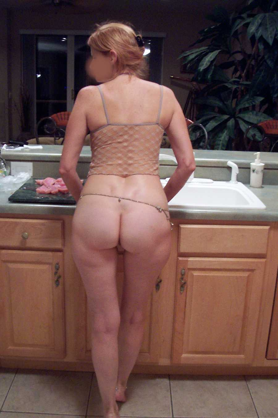 Wife naked in the kitchen