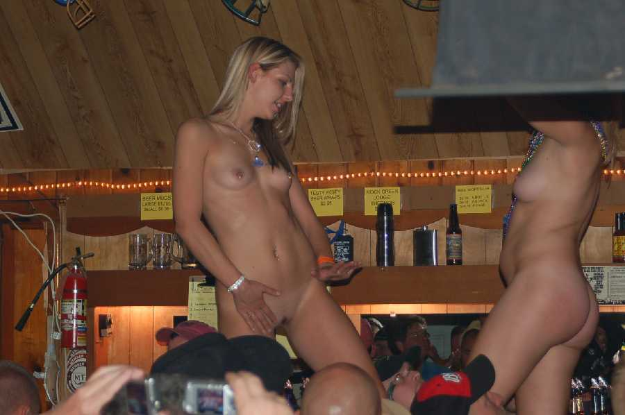 Naked girls at the bar