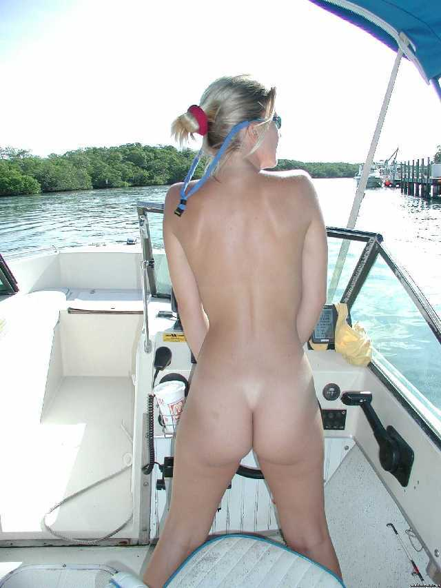 Amateur naked girls in a boat #4