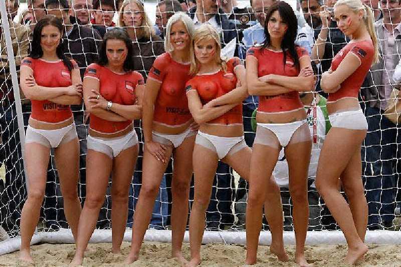 Sexy topless football girl