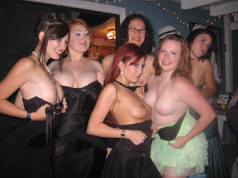 Crazy college girls showing tits at party