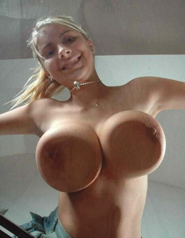 Huge naked girl boobs
