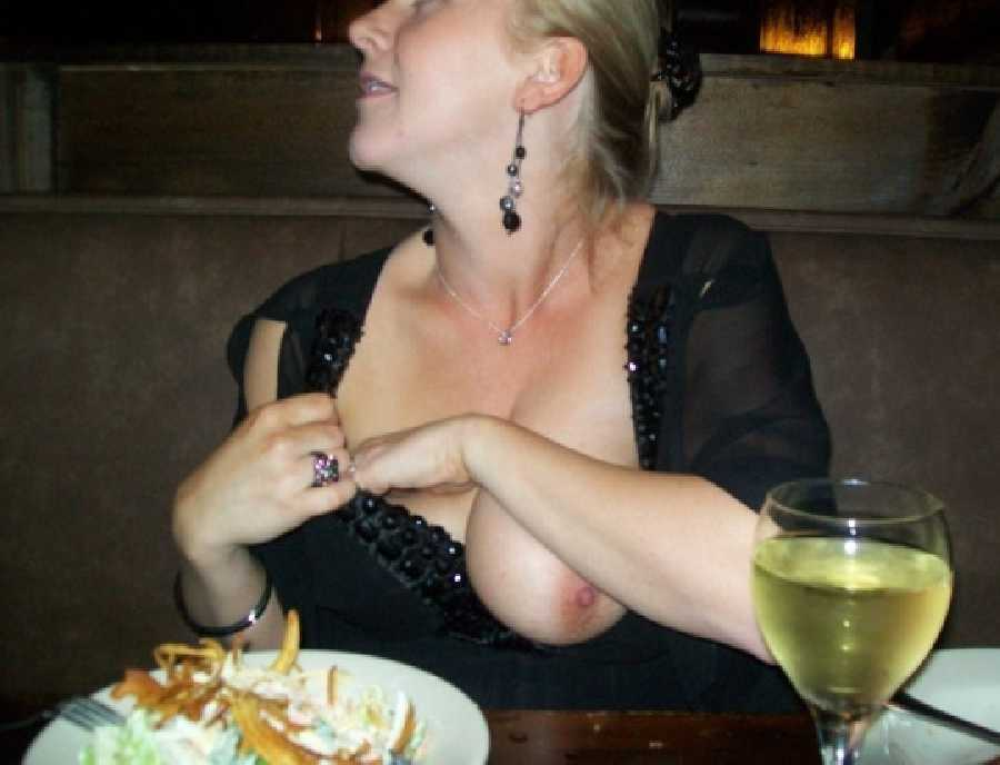 Drunk wife showing her tits
