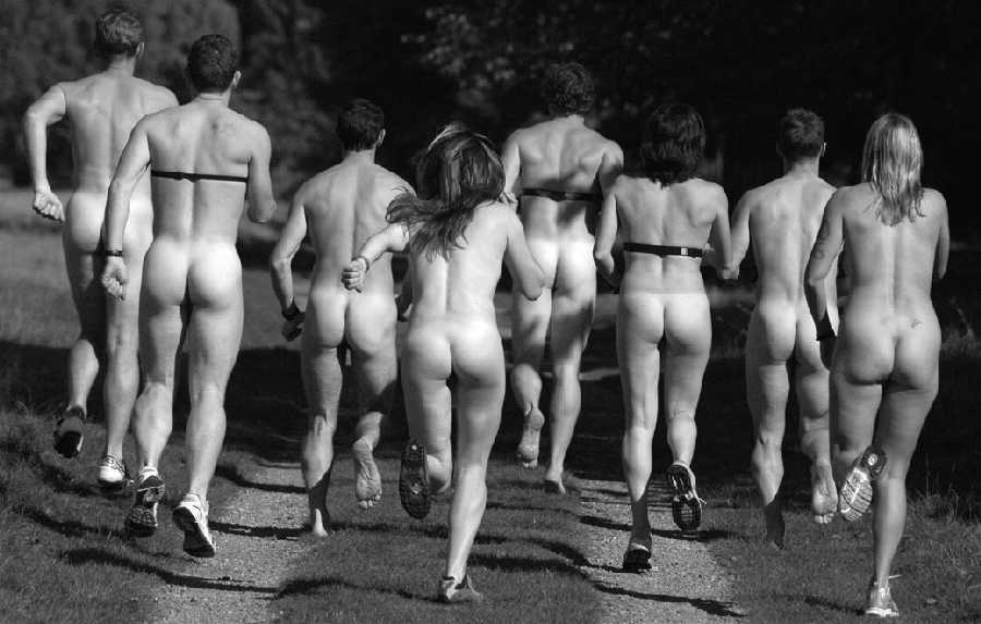 Naked femate athlete group picture