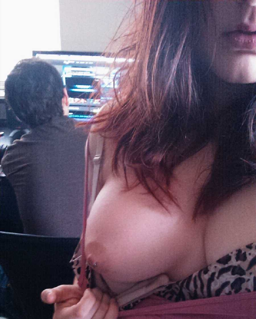 Flashing at work tits selfie pics