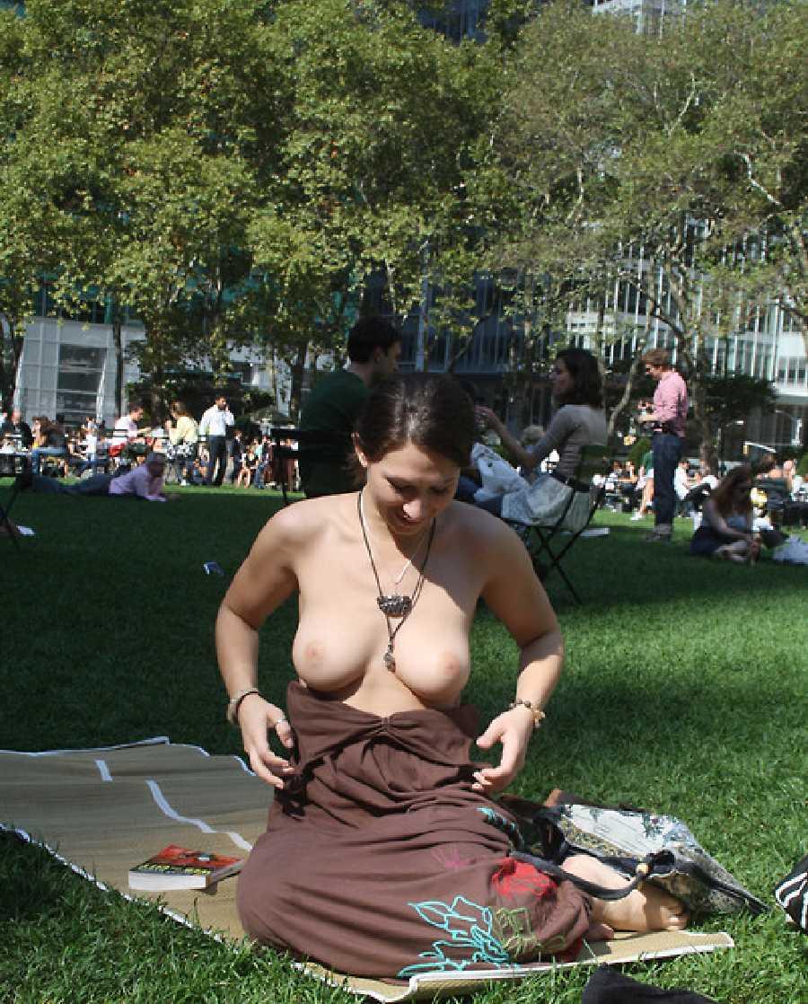 Nude women in park