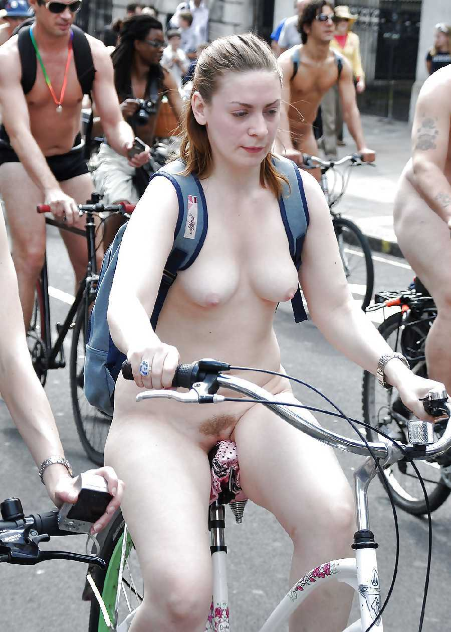 Girls bike riding nude