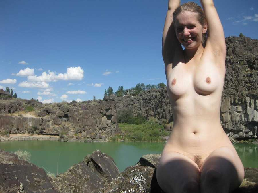 Amateur smiling topless cute girl