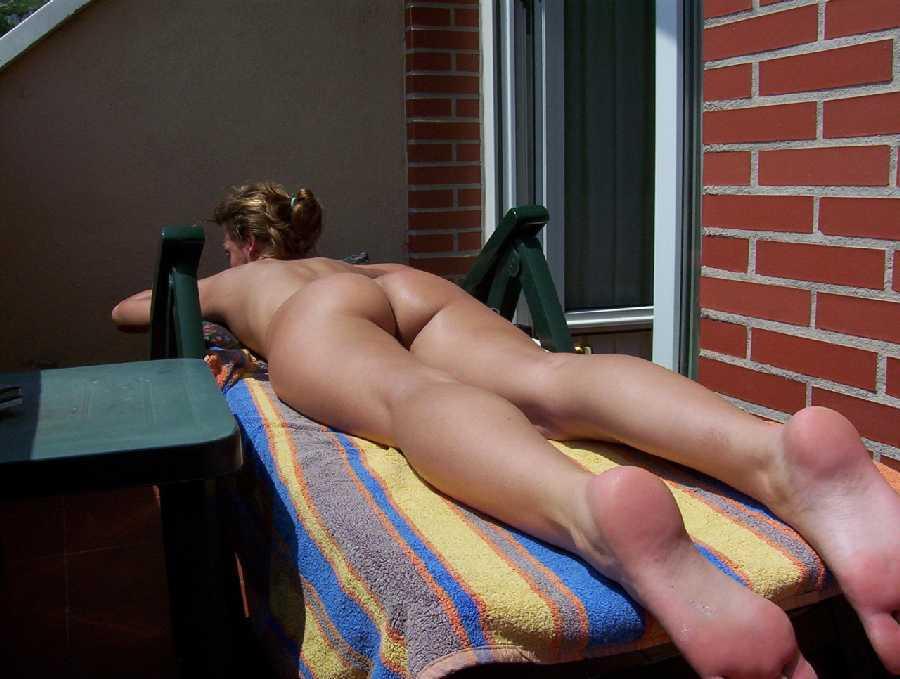 Prone position nude female