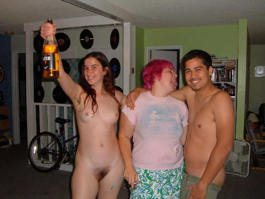 Group of shy naked women