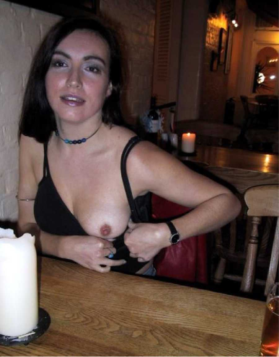 Girls flashing in restaurant